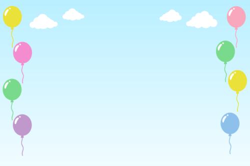 青空と風船の背景イラスト素材