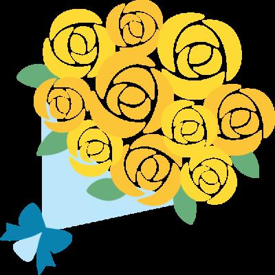 黄色いバラの花束のイラスト