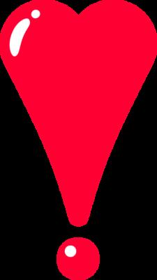 ハート型のビックリマークのイラスト素材(赤)
