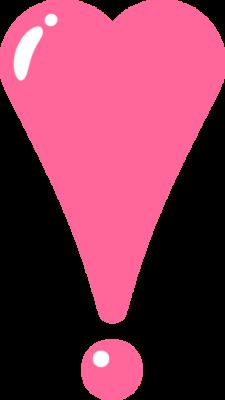 ハート型のビックリマークのイラスト素材(ピンク)