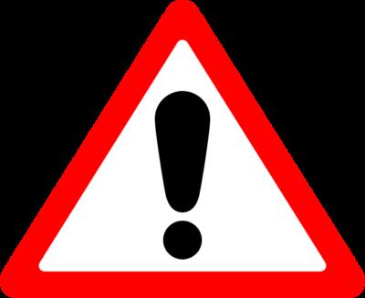 ビックリマークの三角標識イラスト(赤)