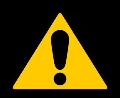 ビックリマークの三角標識イラスト(黄色)
