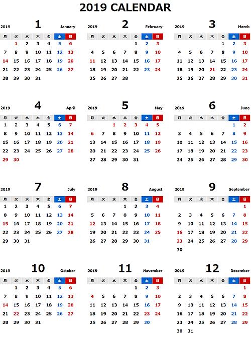 2019年エクセル無料カレンダー(年間:月曜始まり)