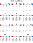 2019年エクセル無料カレンダー(年間:日曜始まり)