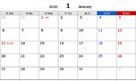 2020年エクセル無料カレンダー(月間:月曜始まり)