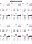 2020年エクセル無料カレンダー(年間:月曜始まり)