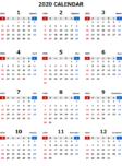 2020年エクセル無料カレンダー(年間:日曜始まり)