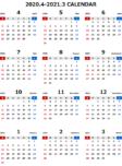 2020年度4月始まりエクセル無料カレンダー(年間:日曜始まり)