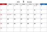 2021年エクセル無料カレンダー(月間:日曜始まり)