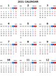 2021年エクセル無料カレンダー(年間:月曜始まり)