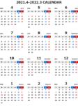 2021年度4月始まりエクセル無料カレンダー(年間:月曜始まり)