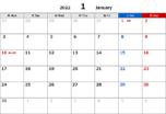 2022年エクセル無料カレンダー(月間:月曜始まり)