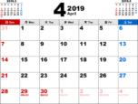 2019年4月無料PDFカレンダー