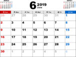 2019年6月無料PDFカレンダー
