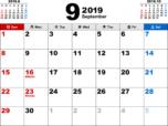 2019年9月無料PDFカレンダー