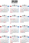 2020年無料PDFカレンダー(年間)