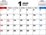 2020年1月無料PDFカレンダー