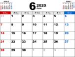 2020年6月無料PDFカレンダー