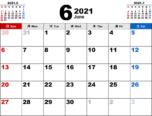 2021年6月無料PDFカレンダー