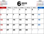 2022年6月無料PDFカレンダー