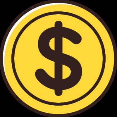 ドル($)マークが入ったコインのイラスト素材