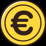 ユーロ(€)マークが入ったコインのイラスト素材