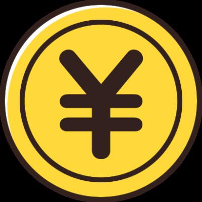円(¥)マークが入ったコインのイラスト素材