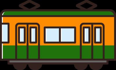電車のイラスト(オレンジ&緑)