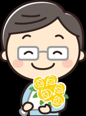 父の日に花束をもらうお父さんのイラスト