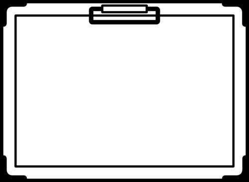 バインダー(クリップボード)の白黒フレーム枠イラスト