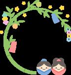 笹飾りの丸型フレーム枠イラスト