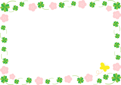 クローバーと花のフレーム枠イラスト
