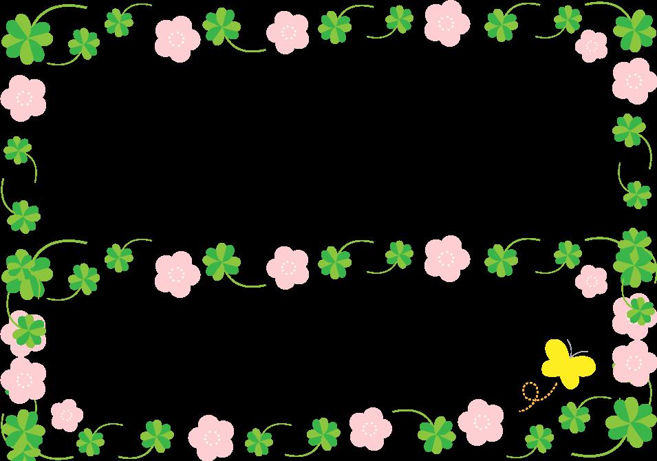 クローバーと花のフレーム枠イラスト イラストストック
