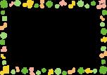 四つ葉のクローバーと音符のフレーム枠イラスト