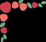 赤いバラのコーナーフレーム枠イラスト