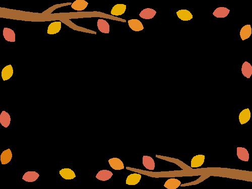 木の枝と紅葉した葉っぱのフレーム枠イラスト