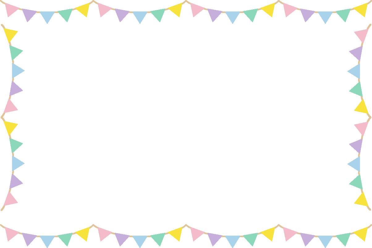 かわいい三角フラッグガーランドのフレーム枠イラスト イラストストック