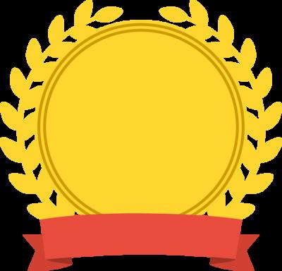 リボンが付いた月桂樹のメダル型アイコンフレームイラスト