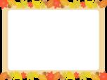 紅葉した落ち葉のフレーム枠イラスト