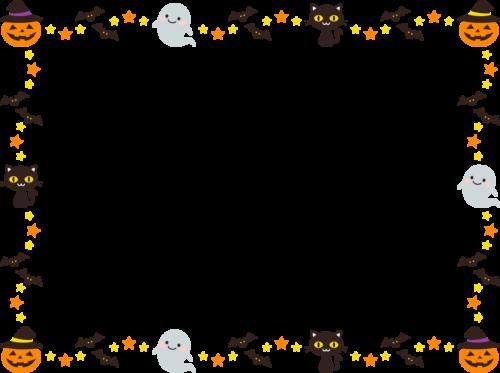 ハロウィンのフレーム枠イラスト(カボチャ・おばけ・黒猫・コウモリ)