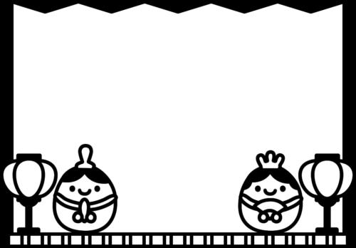雛飾りと屏風の白黒フレーム枠イラスト