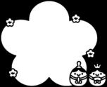 雛人形と桃の花のフレーム枠白黒イラスト
