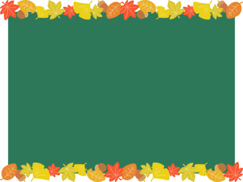 紅葉した落ち葉の黒板フレーム枠イラスト