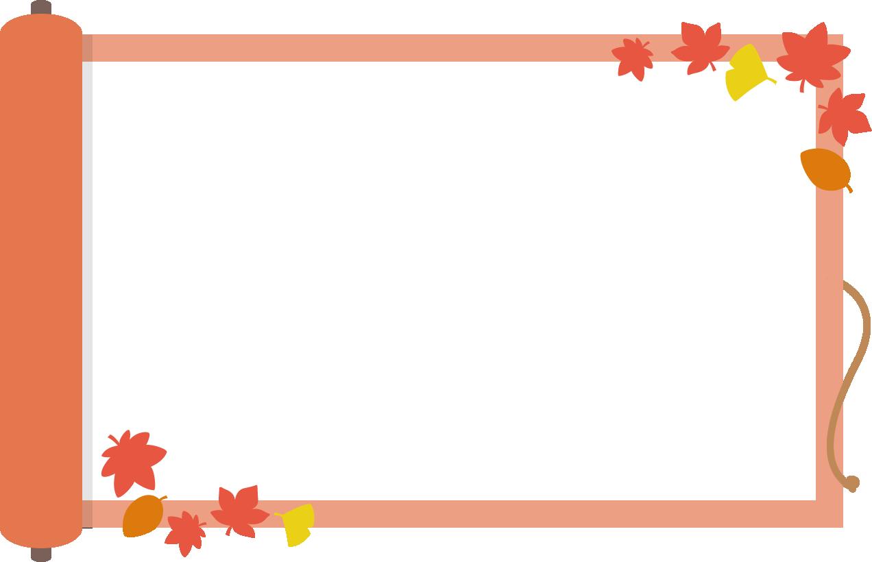 巻物と紅葉のフレーム枠イラスト イラストストック