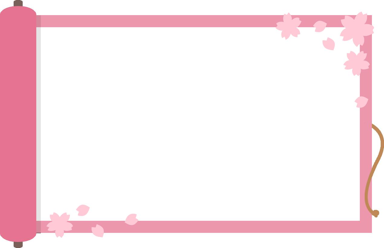 巻物と桜のフレーム枠イラスト イラストストック