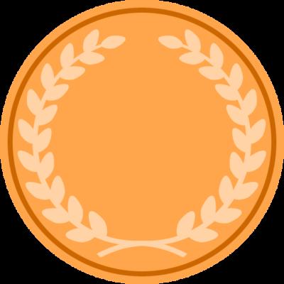 月桂樹が入った銅メダルのアイコンフレームイラスト