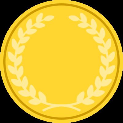月桂樹が入った金メダルのアイコンフレームイラスト