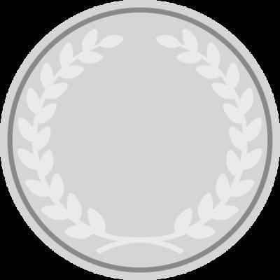 月桂樹が入った銀メダルのアイコンフレームイラスト