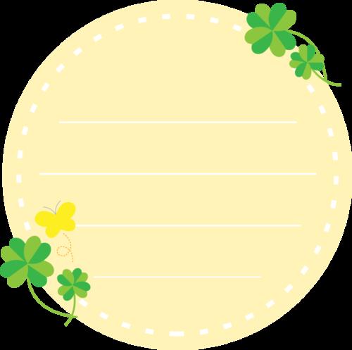 クローバーを飾った丸いメモ帳フレーム枠イラスト