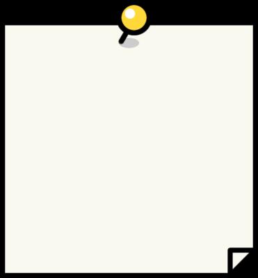 黄色い押しピンを刺したメモ用紙のフレーム枠イラスト